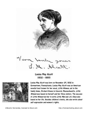 louisa may alcott coloring page