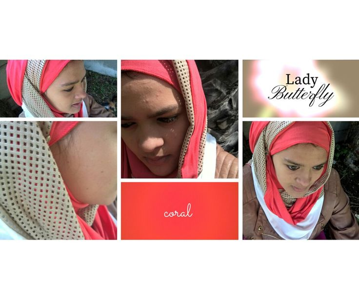 A coral and suede pin free hijab. Be bright this summer. With Ladybutterfly new designs.
