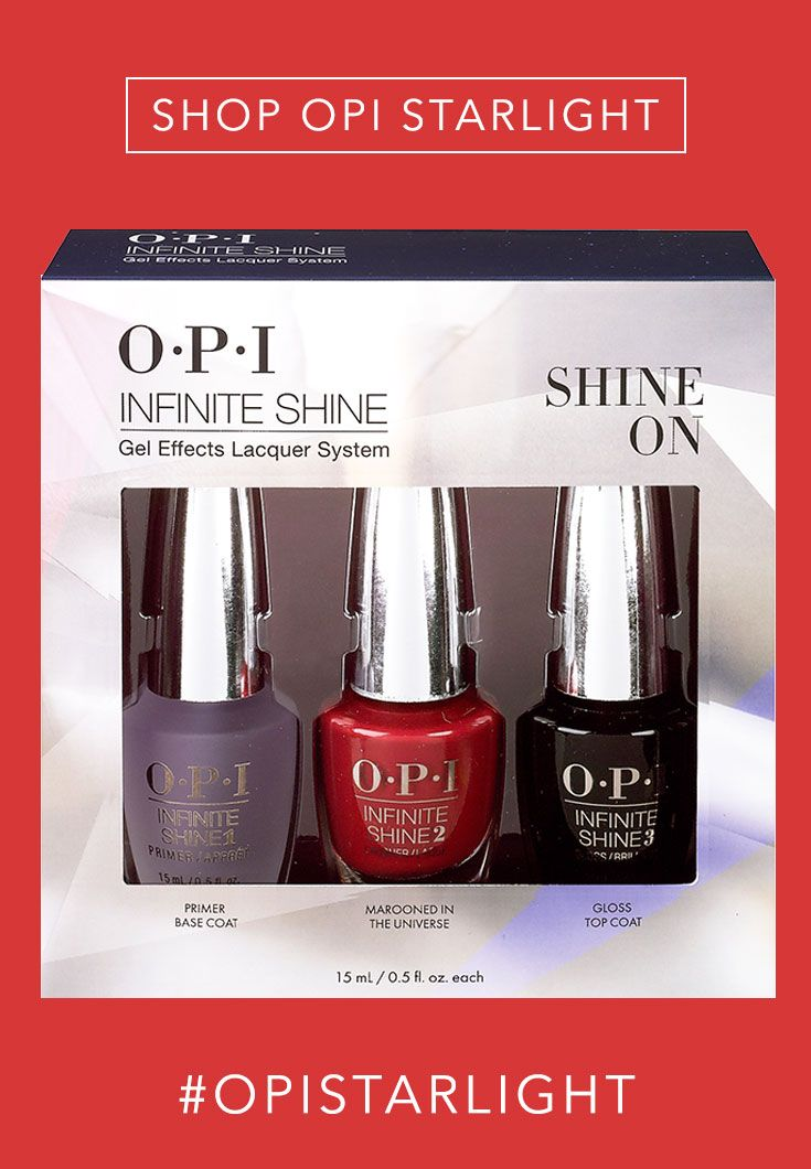 Shop the Gift: OPI Infinite Shine Gel-Effects System //  Give her the gift of SHINE this season. Our Infinite Shine Gel-Effects System has become a beauty-guru staple this year. The hybrid formula boasts up to 10 days of wear and a mirror-like shine! This special base + color + top coat trio pack will keep her nails flawless.