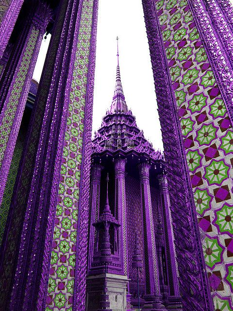 I wonder if there is color symbolism to the purple of this temple in Thailand. #purple