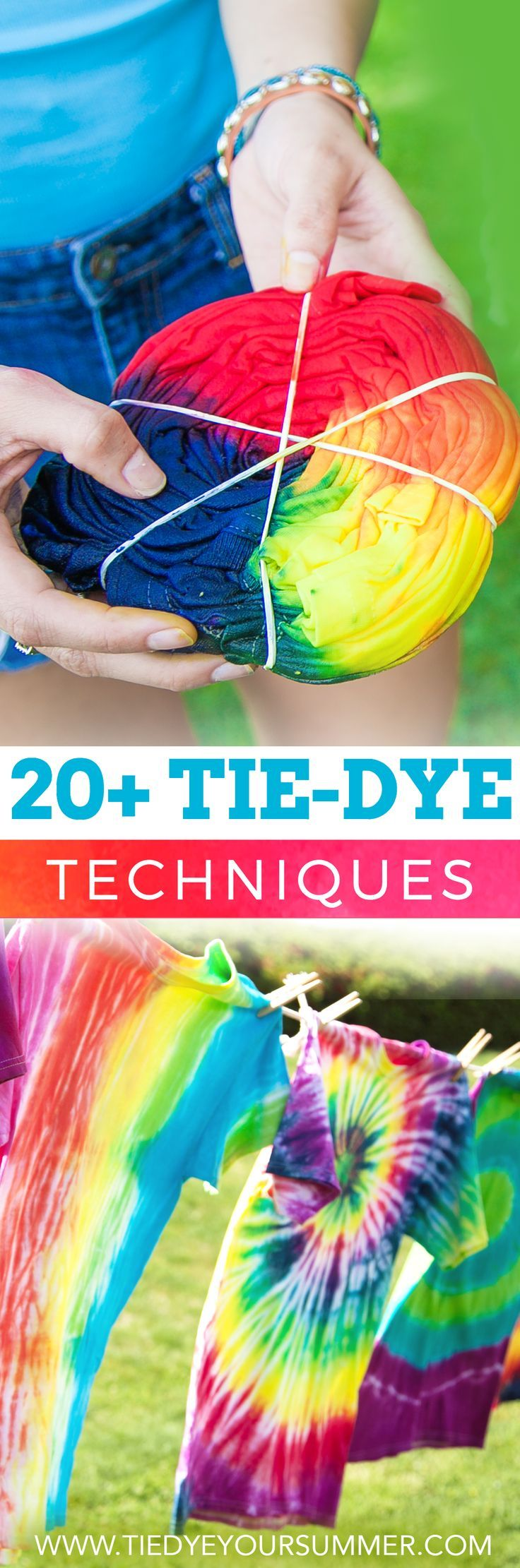 Learn how to make over 20+ tie dye techniques from hearts to ombre to spiral to spider, learn how to make your own custom t-shirt! {pacific kid}