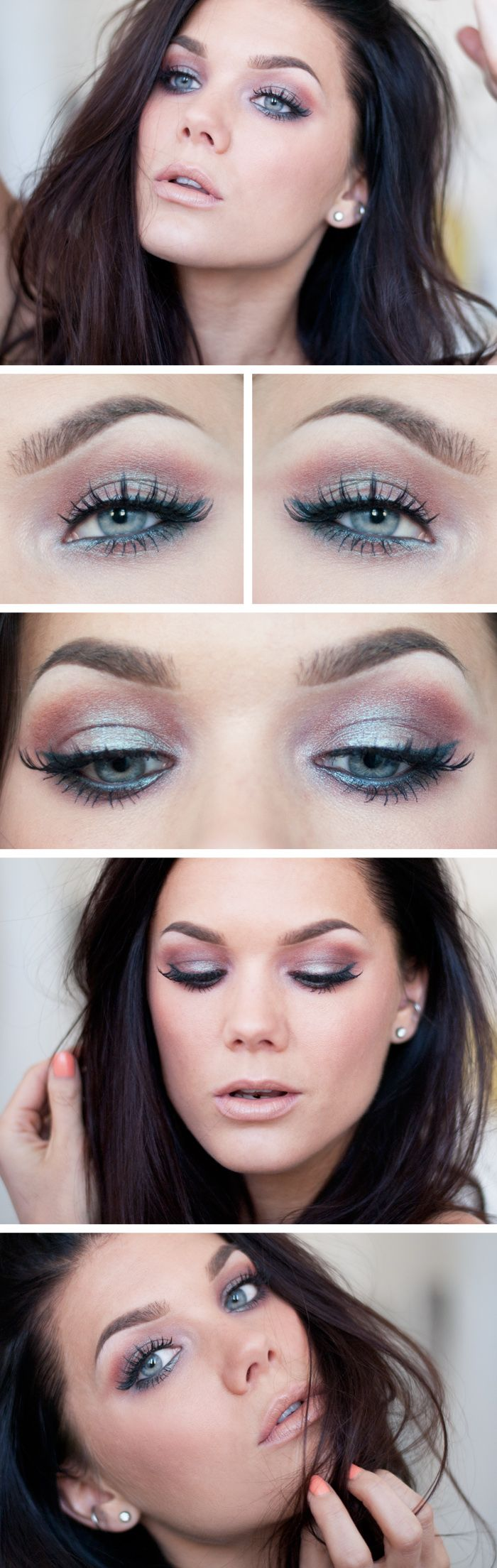 """Today's Look : """"INSOMNIA"""" -Linda Hallberg (I looove this look. The only thing on her eyes (besides primer, of course, is Makeup Geek's pigment in """"Insomnia"""" which is a chocolate brown duochrome pigment with teal/blue reflects.) 06/18/13"""