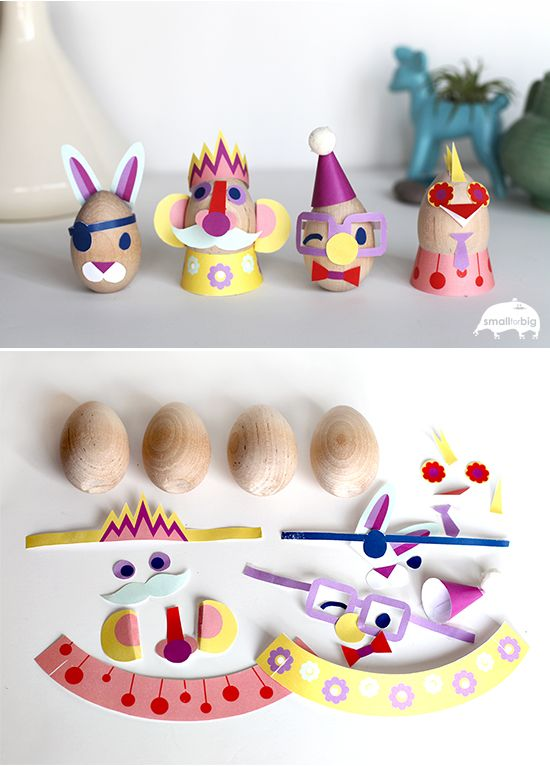 Did you ever see an Easter egg look so FUNNY! This one is super easy to prep for, you just have to print out the free designs and then give the kids a glue stick.