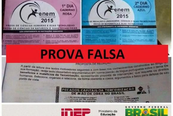 """""""Atenção participantes do #Enem2015! As provas que estão circulando são falsas"""", diz o comunicado. Em 2009, a prova do Enem foi cancelada pelo Ministério da Educação (MEC), após o vazamento confirmado de informações."""