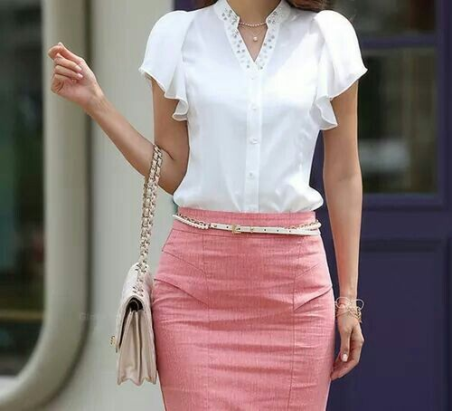 Cute work outfit. Not in love with accessories or bedazzled collar though.