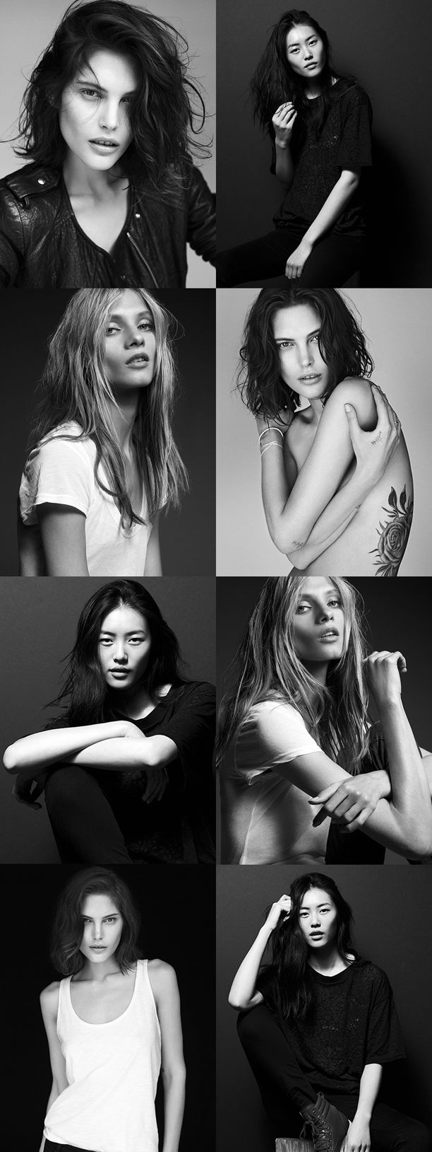 Models: Catherine McNeil, Liu Wen Anna Selezneva Photographer: Dario Catellani Model Portraits Black and White Casual Classic Looks Tees Tshirt Jeans Denim Boots Tattoos Natural Beauty Leather Moto Jacket Hair