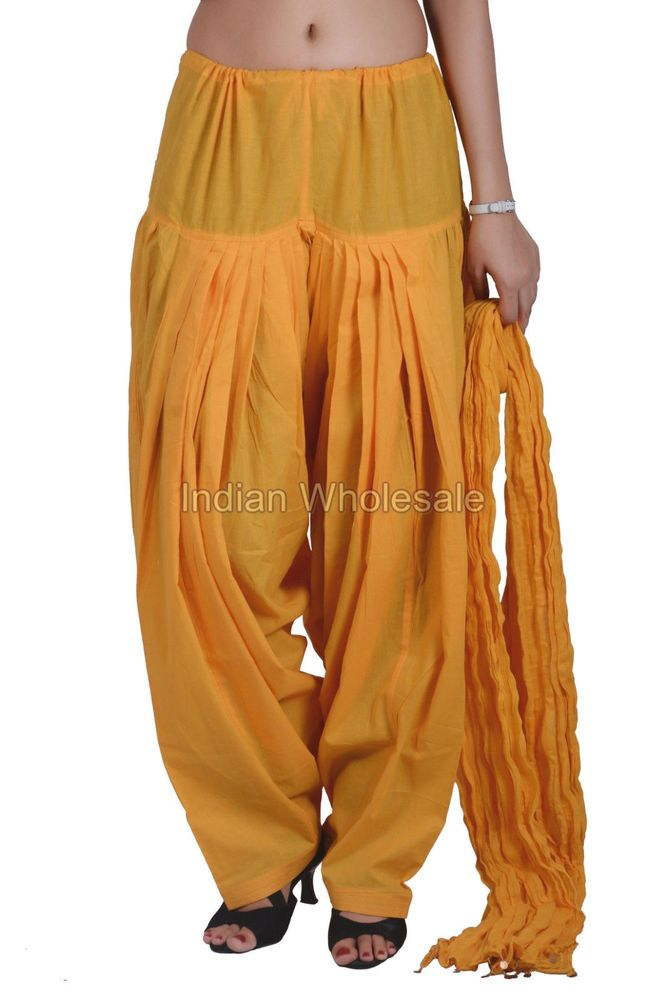 Indian Women Yellow Patiala Salwar Pants with Dupatta Stole Set IWUS #Handmade #CasualPants