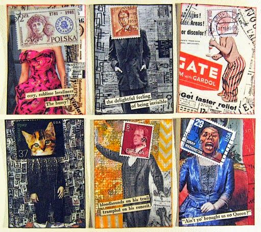 constance rose : mixed media and textiles: Stamphead Revisited, Series 3