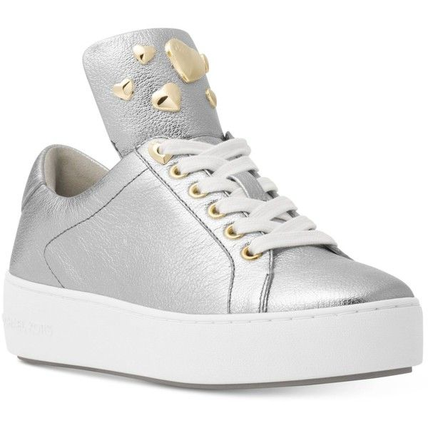 Michael Michael Kors Minday Lace-Up Sneakers ($135) ❤ liked on Polyvore featuring shoes, sneakers, silver, silver platform shoes, michael kors trainers, platform trainers, lace up sneakers and metallic platform sneakers