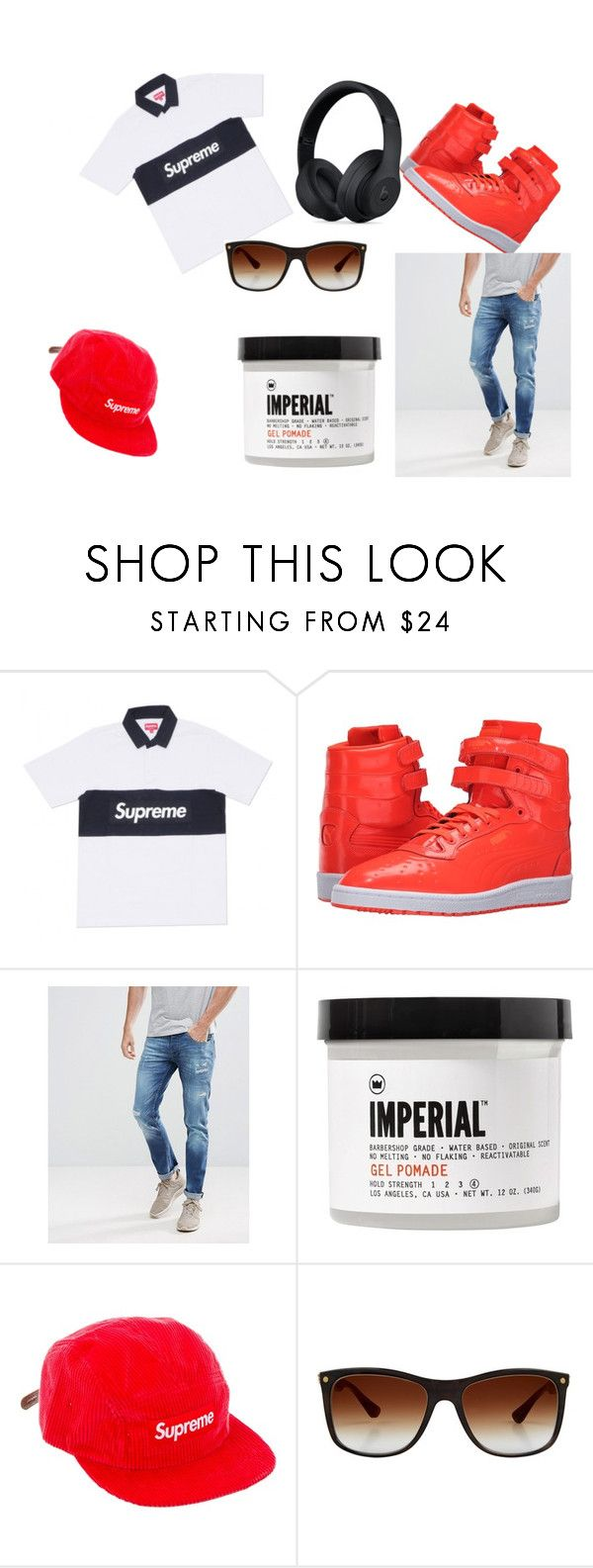 """""""Eliah"""" by unicornbrianna16000 ❤ liked on Polyvore featuring Puma, Voi Jeans, Imperial Barber Products, Supreme, Stefano Ricci, Beats by Dr. Dre, men's fashion and menswear"""