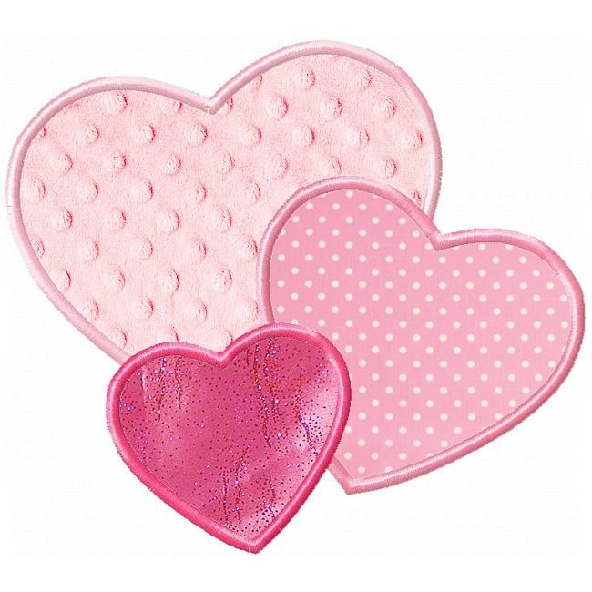 3 Hearts Applique -- 4x4, 5x7, 6x10 Planet Applique -- Own it!