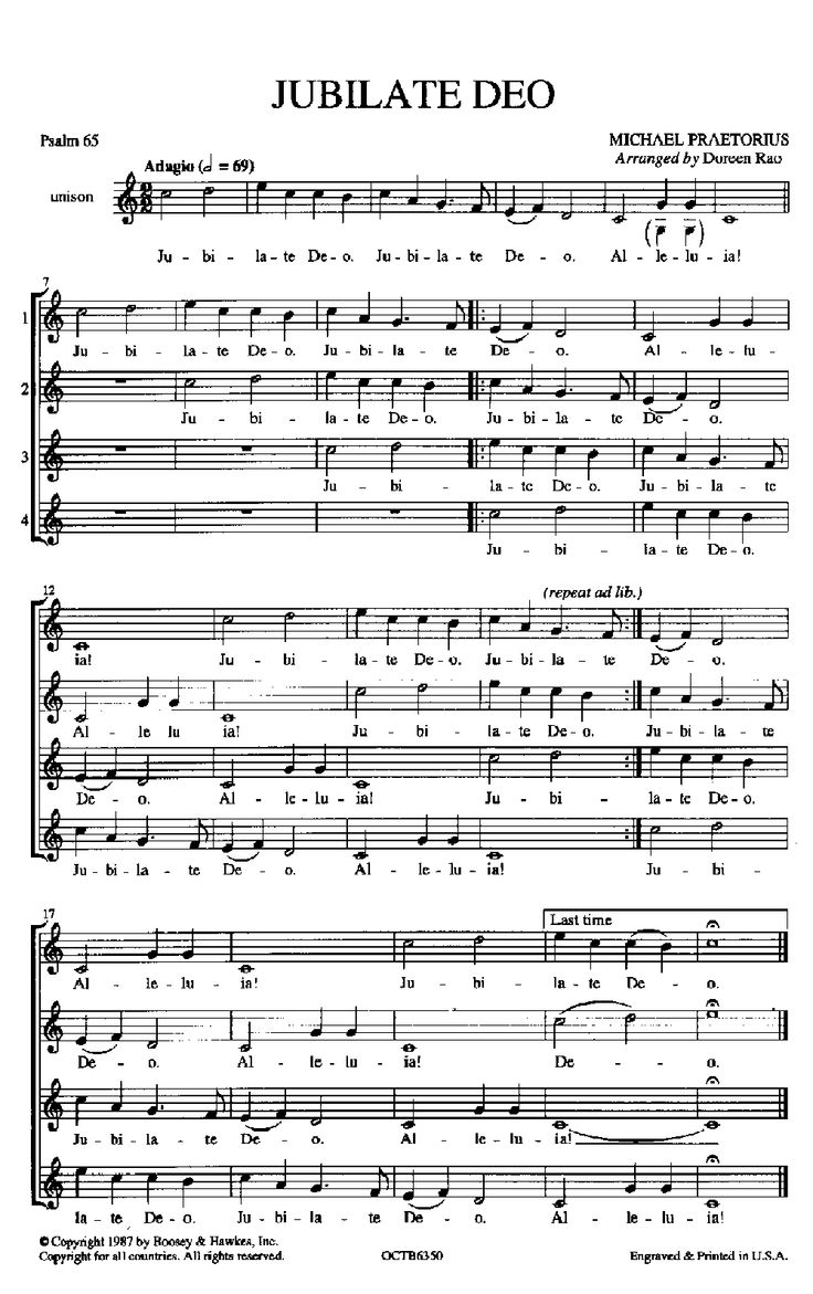 Jubilate Deo (Unison/Two-Part ) by Michael P | J.W. Pepper Sheet Music all the ICC treble groups sing this at the beginning of every concert spread out all over the room.