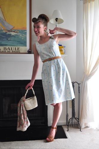 Vintage dress, vintage hair, vintage style