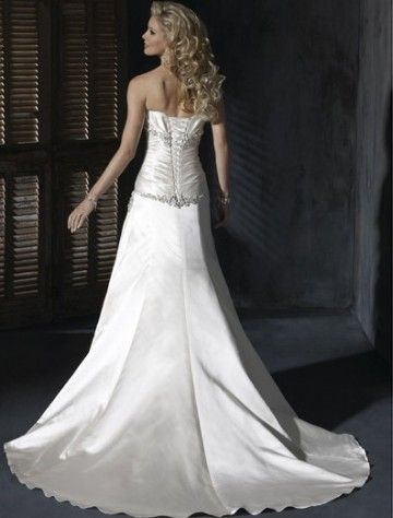2011 Style A-line Strapless Court Trains Sleeveless Satin Wedding Dress For Brides (SZ004158)
