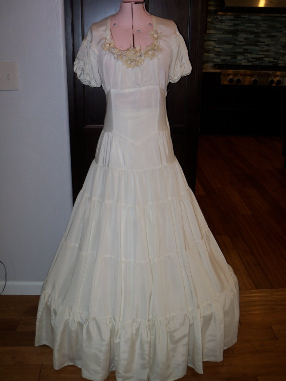 1940s Wedding Gown Veil Hoop Skirt And By TheTravelingOwlShop 9500
