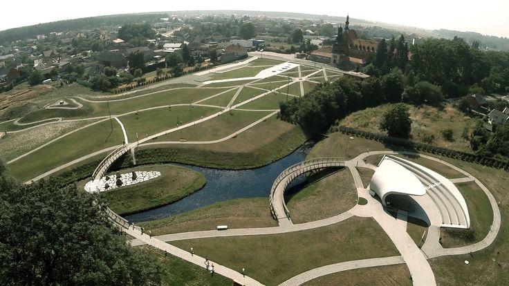 #Architektura w #KazimierzBiskupi - #park. Widok na #park z #lotu #ptaka. // #Architecture in Kaziemierz Biskupi, #Poland - #park. #Bird's-eye view.