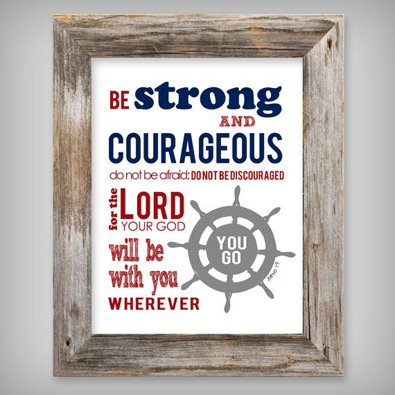 Boy's 8x10 Printable Art - Be Strong and Courageous Joshua 1:9 - Nautical Theme…