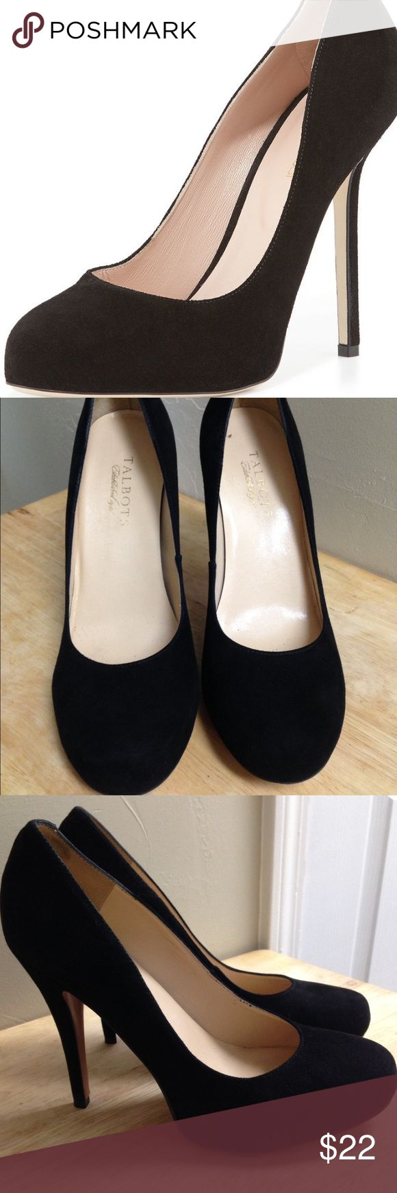 Talbots black suede pumps Really cute black suede pumps with a round toe. Really comfortable and classic! They shoe is in prefect condition and has only been worn once! The shoe is stunning and the suede is not showing any signs rubbing in any areas. Talbots Shoes Heels