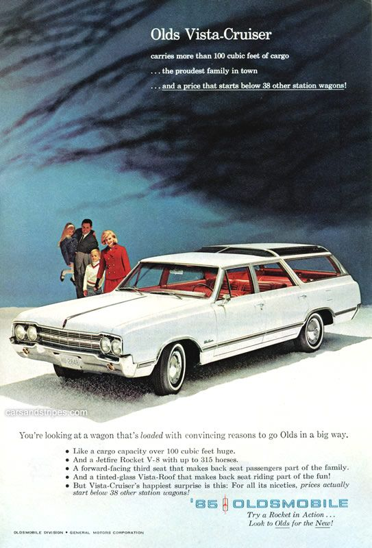 1965 Oldsmobile Vista Cruiser - Carries more than 100 cubic feet of cargo - Original Ad