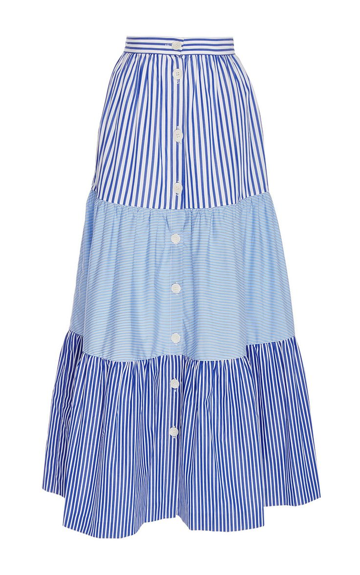 Mix Tiered Peasant Skirt - MDS Stripes Resort 16 - Preorder now on Moda Operandi