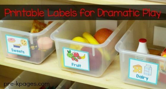 Printable labels for the dramatic play center in your preschool, pre-k, or kindergarten classroom. Keep your pretend food organized! Share this:PinterestFacebookTwitterGoogle