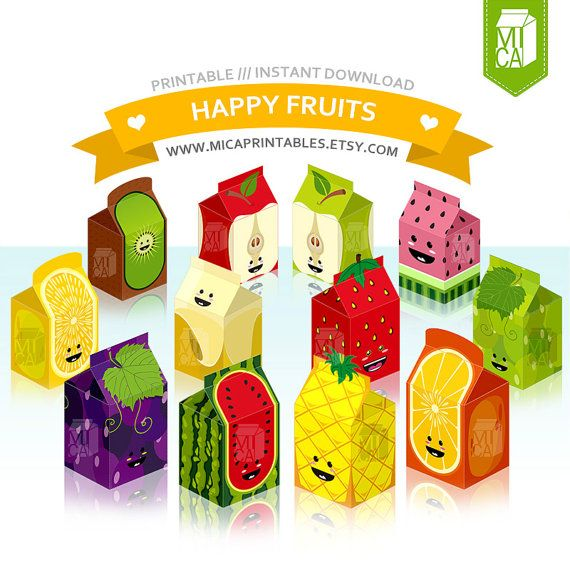 12 Fruits Printable Party Favor Treat by MicaPrintables
