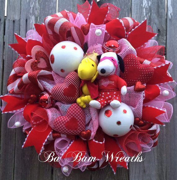 Peanuts Valentine Wreath Snoopy Valentines Wreath by BaBamWreaths
