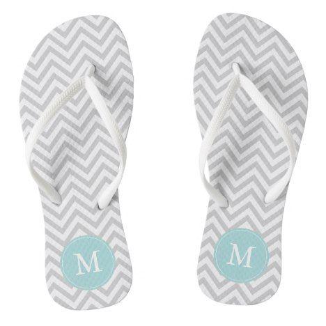 Gray and Light Blue Chevrons Monogrammed Flip Flops #chevron #patterned #footwear #fashion