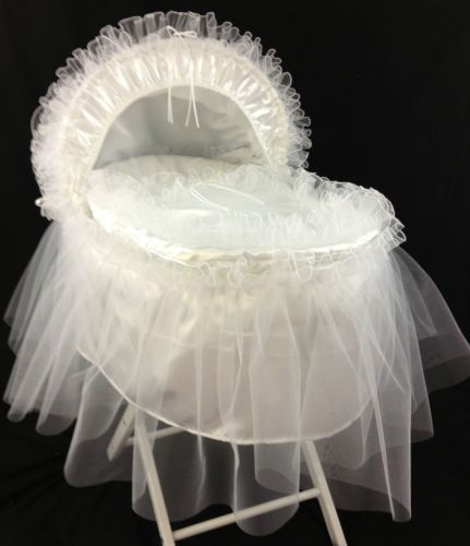 Brand New Personalised White Satin Moses Basket Cover Set