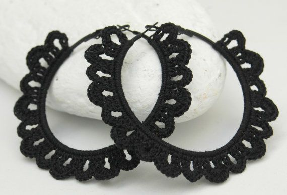 Crochet hoop earrings - Crochet jewelry - Big earrings - Black earrings - Fashion jewelry - Gift idea