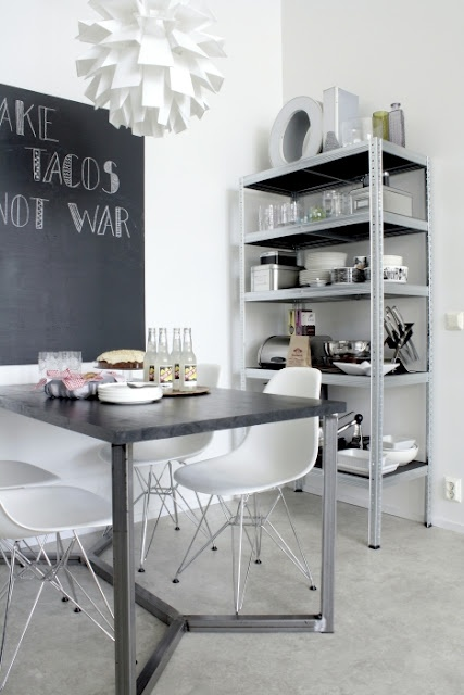 dining area - steel metal industrial shelf - chalkboard wall - Eames chairs - black and white