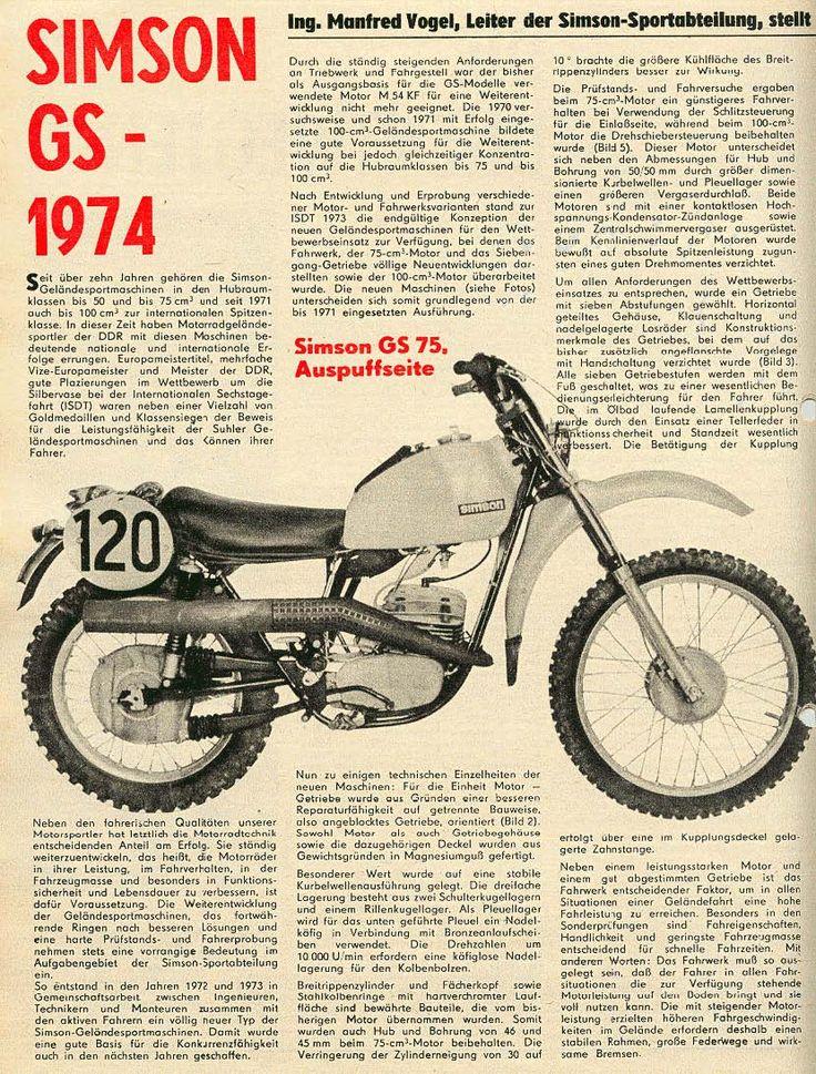 Simson GS 75 Bericht 1974