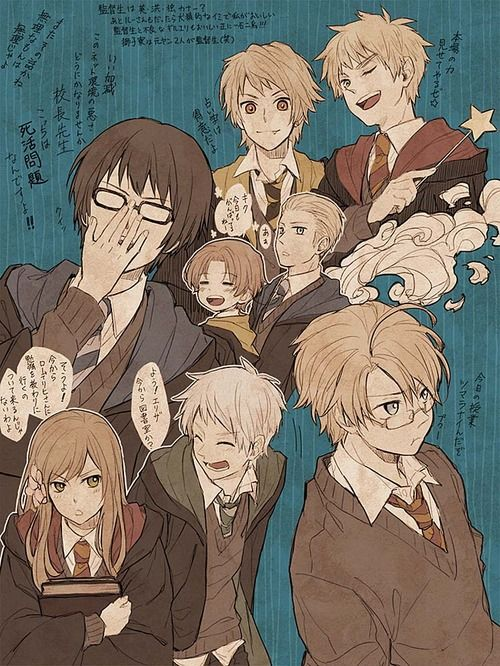 Hetalia- Harry Potter crossover the two things I really like combined XD Thank you so artist! Is anyone else think this is genius?