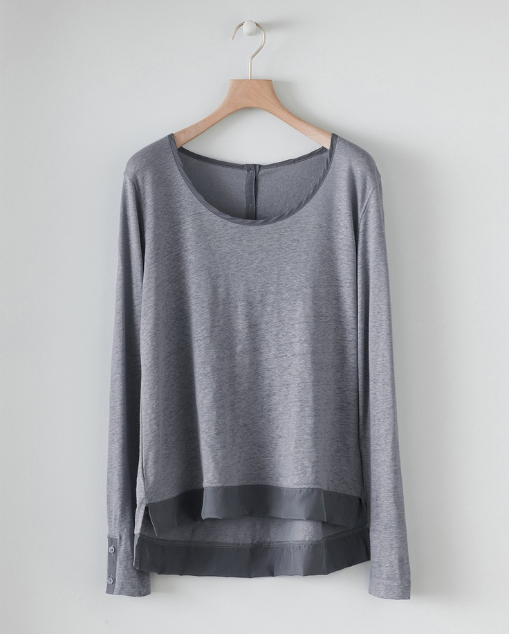 Image of Silk Trimmed Jersey Top