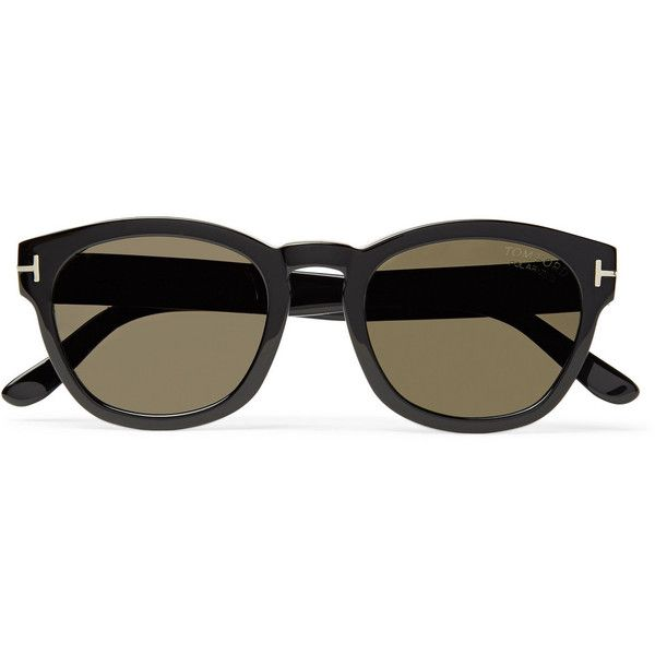 TOM FORD Bryan Round-Frame Acetate Polarised Sunglasses ($435) ❤ liked on Polyvore featuring men's fashion, men's accessories, men's eyewear, men's sunglasses, tom ford mens sunglasses and mens round frame sunglasses