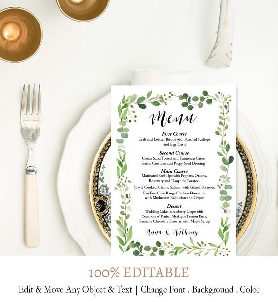 Digital Menu Printable Olive Leaves Theme Sprigs Menu Etsy Wedding Menu Cards Wedding Menu Template Printable Menu Cards