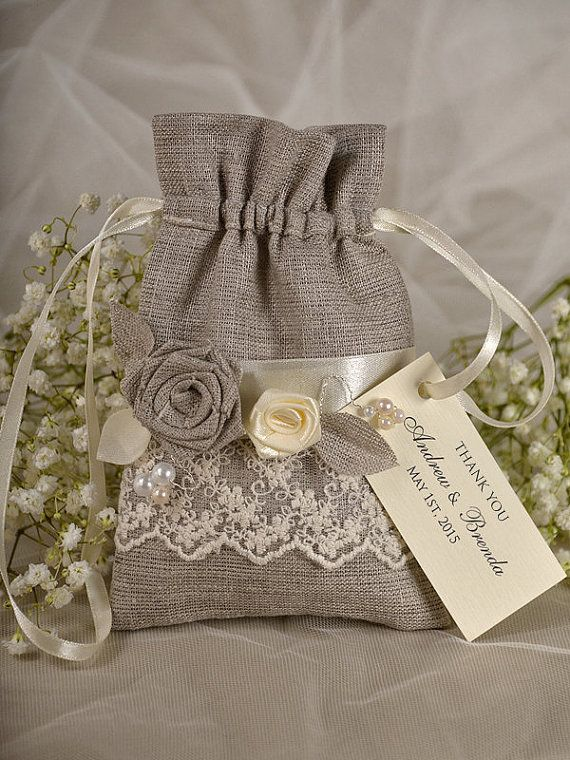 Add your favorite goodies for an instant favor to offer your guests.    Natural Rustic Linen Wedding Favor Bag with ecru ribbon nad tag    Each