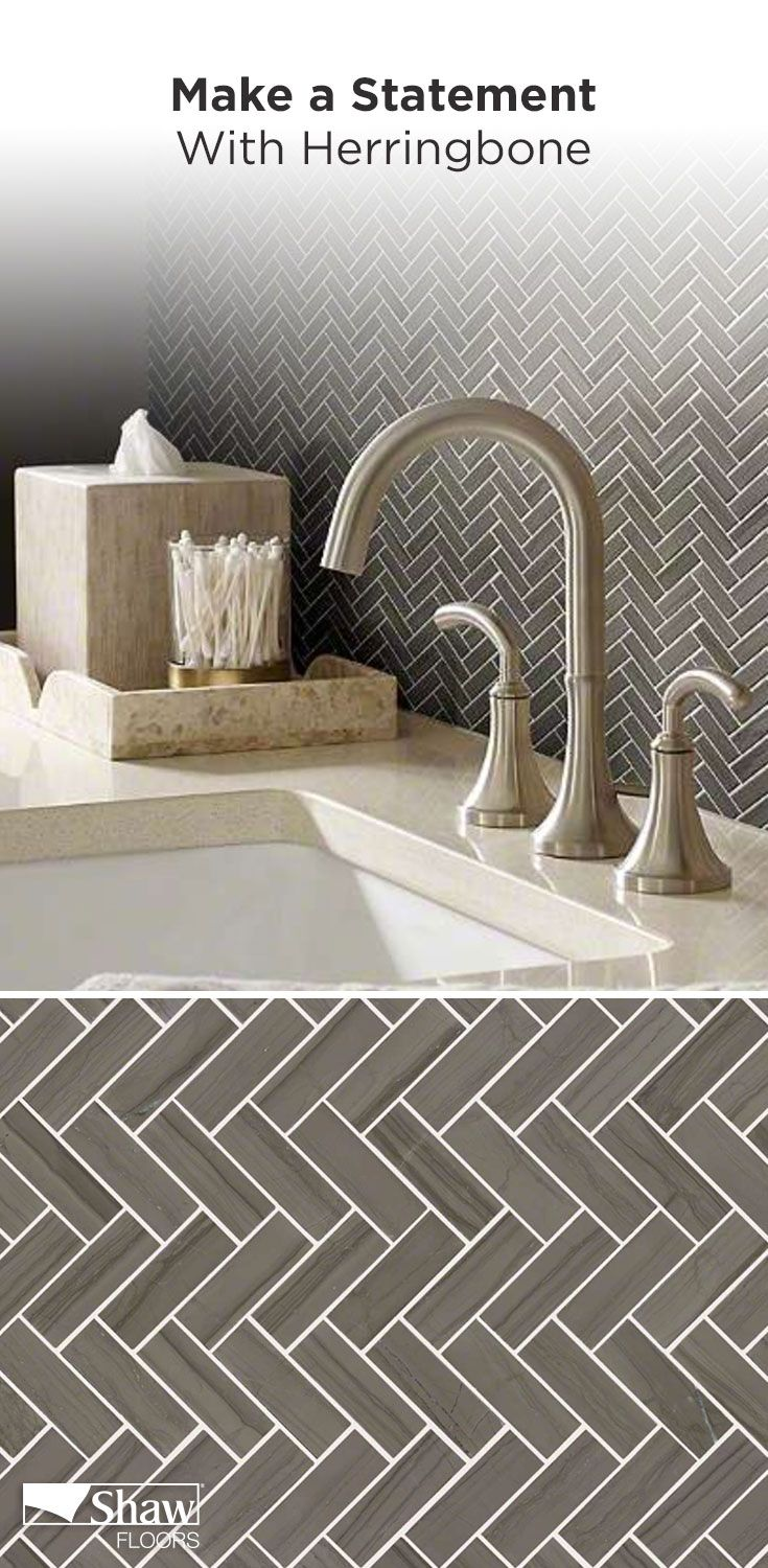 Make a statement in your home with Chateau Herringbone Mosaic. This pattern will add a unique, natural stone look to the space in your home. Featured above, the Urban Grey color features both light & darker shades of grey in a linear veining structure.