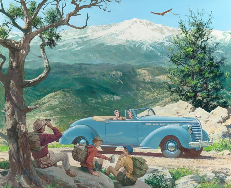 Пайкс+Пик,+Колорадо-Спрингс,+Колорадо+(Pikes+Peak,+Colorado+Springs,+Colorado,+1938+Hudson,+Great+Moments+in+Early+American+Motoring)_54+х+67.7_картон.+гуашь+и+темпера_Ч.с..jpg (1600×1301)