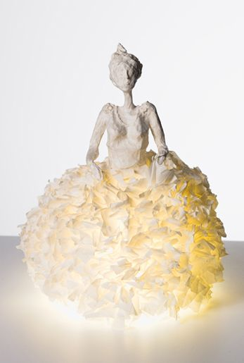Beautiful❣ Really unique art sculpture—also a paper lantern—paper mâché❣ Sophie Mouton-Perrat & Frédéric Guibrunet - Paris, France • Papier à êtres • Sculptures lumineuses • Bright sculptures