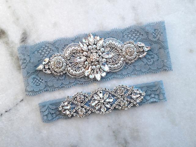 Something Blue Garter Set Crystal Rhinestone Garter Stretch Lace Bridal Garter Rose Gold Wedding Garters Navy Blue Wedding Garter