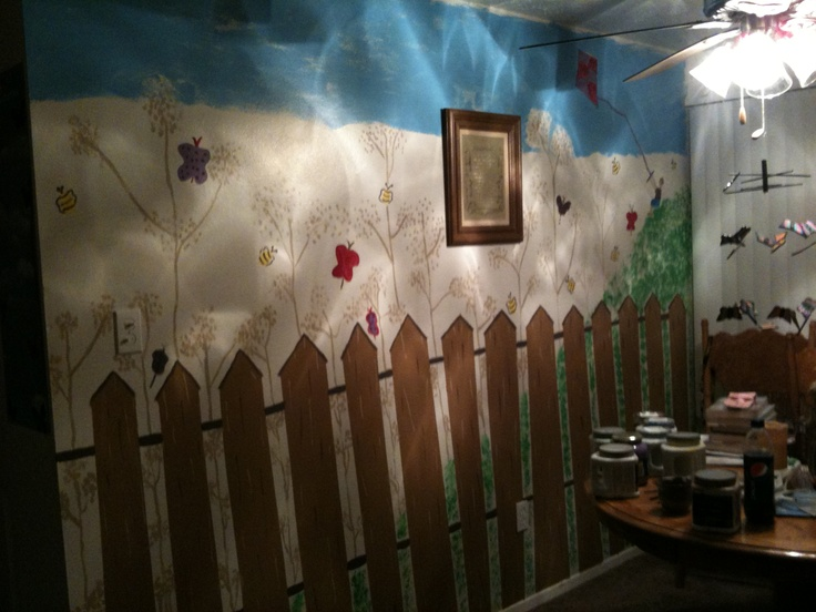 I painted this mural in my dinning room, i love this it looks like it belongs in a childrens book.