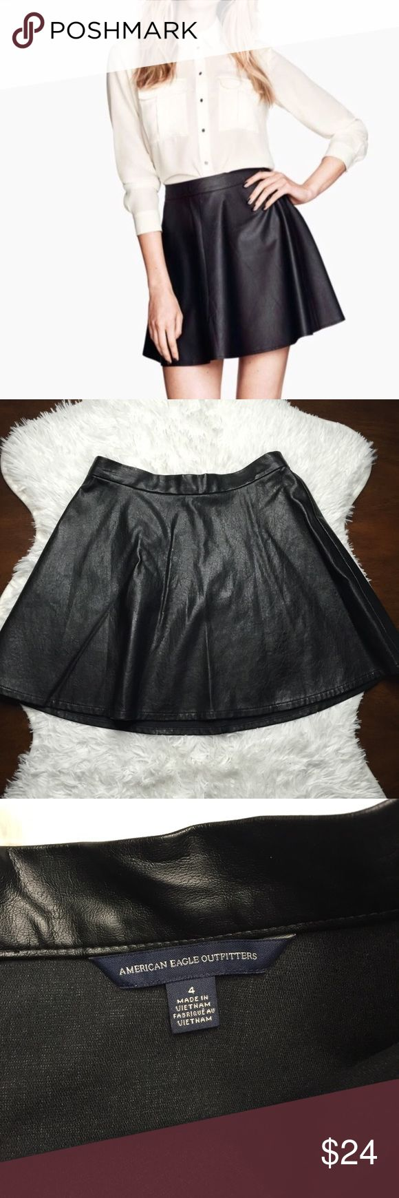 American Eagle Faux Leather Skirt Sz 4. EUC. Measurements shown in pictures. Waist is true to size, not stretchy. Black. American Eagle Outfitters Skirts