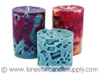 Ice candles  http://www.lonestarcandlesupply.com/candle-making/guides/how-to-make-ice-candles/