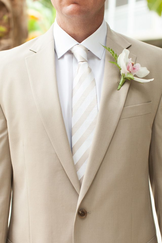 love the tone on tone khaki & striped tie! Cheeca Wedding by bobcareweddings.com