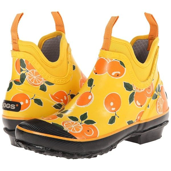 Bogs Harper Fruit Women's Waterproof Boots, Orange ($66) ❤ liked on Polyvore featuring shoes, boots, ankle boots, orange, platform ankle boots, low ankle boots, short rubber boots, bogs boots and low heel bootie