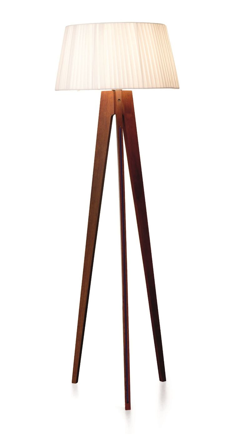 Walnut Wood Stain Tripod Floor Lamp Red Cable Miller