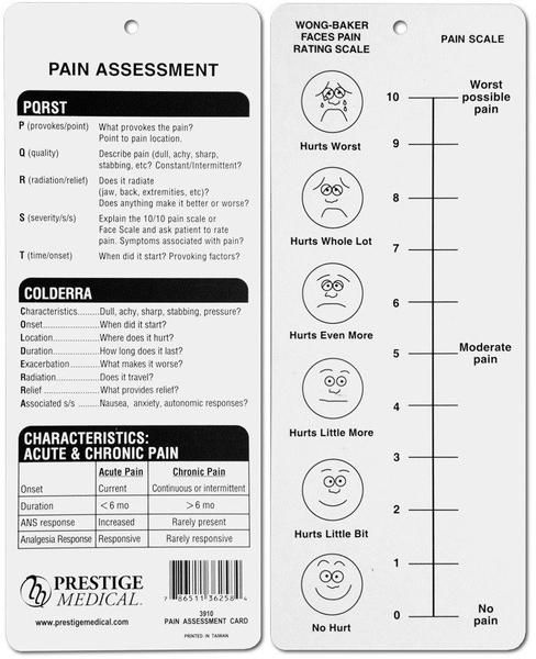 The Pain Assessment Card is a convenient tool for estimating the strength of a patient's pain. This pain assessment features Wong-Baker faces for pain rating, PQRST pain assessment description, and the COLDERRA pain assessment description