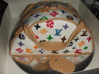 Rainbow Louis Vuitton bag cake www.sucrecakes.com.au