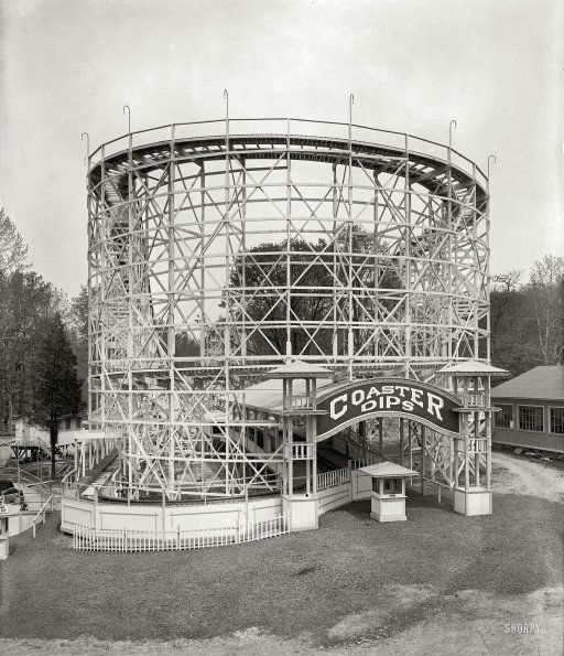 "Montgomery County, Maryland, circa 1928. ""Glen Echo Amusement Co."" The Coaster Dips roller coaster at Glen Echo Park outside Washington, D.C."